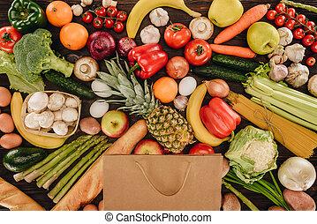 achats, sommet bois, sac, fruits, table, légumes, vue