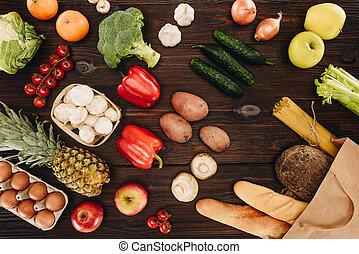 achats, sommet bois, sac, fruits, table, vue, légumes, pain