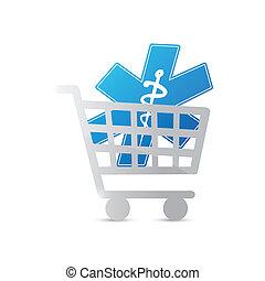achats, symbole, charrette, conception, illustration médicale