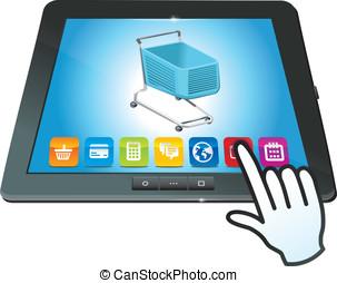 achats, tablette, charrette, pc, vecteur, icône