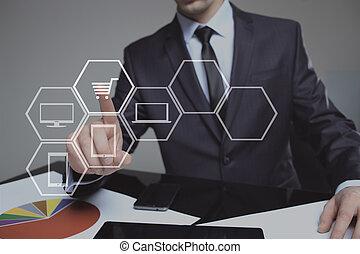 achats, technologie, homme affaires, concept., virtuel, business, toucher, cart., internet, gestion réseau