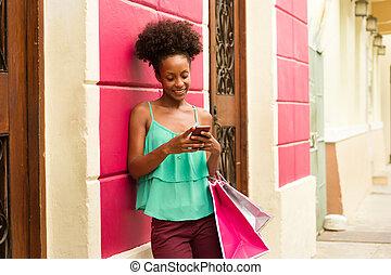 achats, texte, téléphone, noir, messagerie, girl