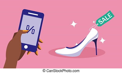 achats, utilisation, afro, achat, chaussure, mobile, smartphone, main, technologie, animation