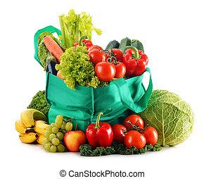 achats, variété, légumes, isolé, sac, vert, frais, organique, blanc