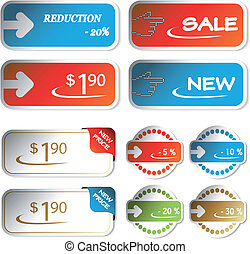achats, vecteur, autocollants