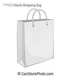 achats, vecteur, bag.