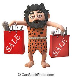 achats, vente, velu, caractère, dessin animé, entiers, illustration, sacs, affaires, homme cavernes, 3d