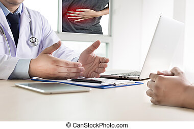 Ache man suffering with back pain backache Pain relief
