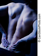 Ache - Dark image of human back pain with hands on it