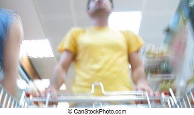 acheteur, nourriture, magasin