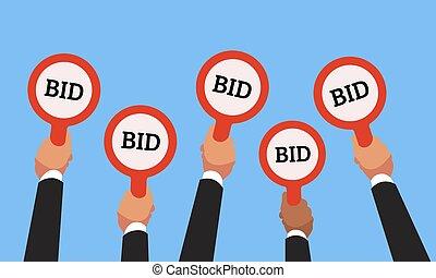 acheteurs, concept, price., business, enchère, offre, manettes, compétitif, main, vecteur, nombres, mains, bidders, élévation, augmentation