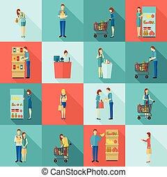 acheteurs, ensemble, ombre, long, icône