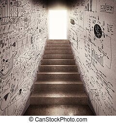 Achieve business success - The stairs leading to a passage...