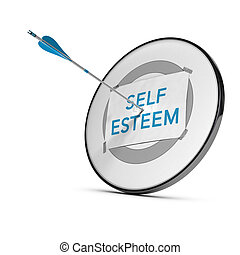 One arrow in the center of a target with a sheet of paper including the text Self Esteem. Conceptual image for illustration of personal qualities development.