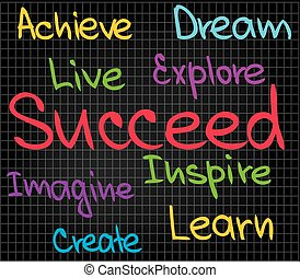 Achieve Succeed - Sketch words of success for business...