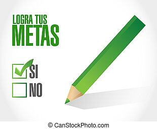 achieve your goals approval sign in Spanish