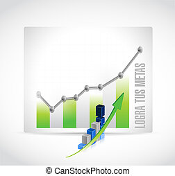 achieve your goals business graph sign in Spanish.