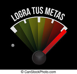 achieve your goals meter sign in Spanish.