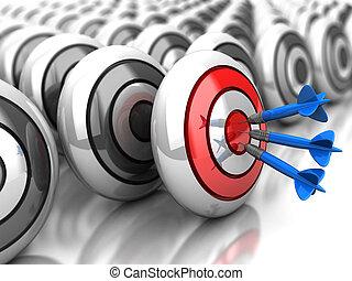 Achievement - 3d achievement: darts in bullseye with grey...