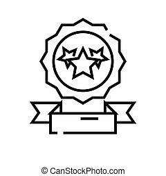 Achievement award line icon. Achievement award concept outline vector, symbol, sign, linear illustration.