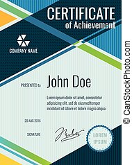 Achievement, award vector certificate design. Personal diploma and certificate illustration