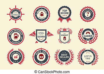 Achievement badges for games or applications. Two shades of color.