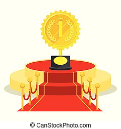 medal on red carpet - Achievement concept. Award medal on...