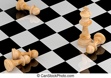 Achievement Concept in Business, Chess 3D Rendering