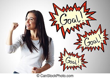 Achievement concept - Excited young woman celebrating...