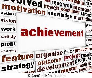 Achievement conceptual poster design. Management strategy creative words background