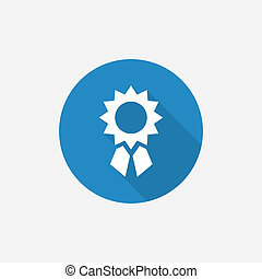 achievement Flat Blue Simple Icon with long shadow