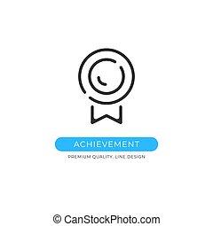 Achievement icon. Medal, reward, prize, success, award concepts. Premium quality graphic design element. Modern sign, linear pictogram, outline symbol, simple vector thin line icon