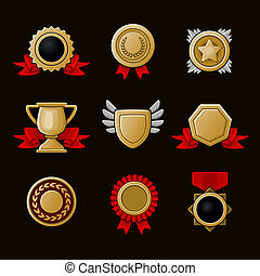 Medals and gifts icons set
