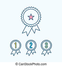 Achievement Medal Award Icons set with Ribbon and numbers In flat line style. illustration of Achievement icon logo.