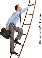 Achievement - Portrait of businessman with briefcase ...