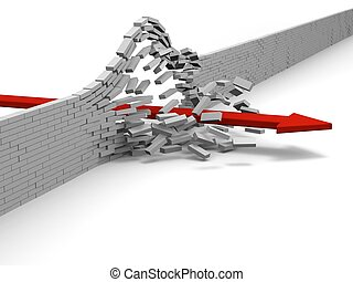 Achievement - Red arrow breaking through brick wall, concept...