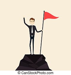 Achievement, Success and Leadership concept. Climber with flag conquering top of mountain. Businessman holding a flag on mountain peak.