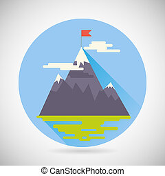 Achievement Top Point Flag goal Symbol Mountain clouds grass land Icon on Stylish Background Modern Flat Design Vector Illustration