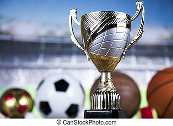 Achievement trophy, winning sport background - Trophy for...