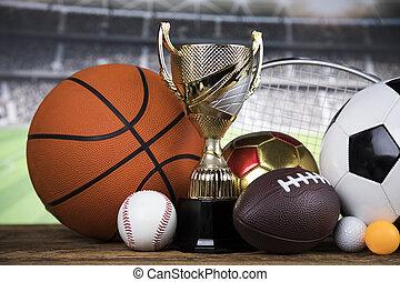 Achievement trophy, winning sport background