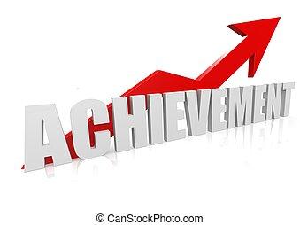 Achievement with upward red arrow