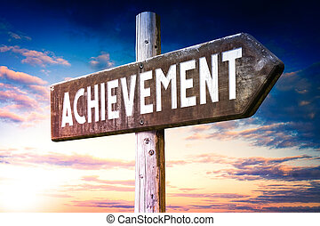 Achievement - wooden signpost, roadsign with one arrow