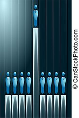 business graph with one businessman standing out from the crowd