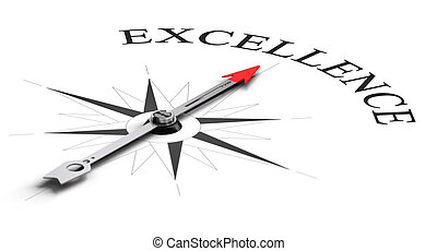 Achieving Excellence - Compass concept with the needle...