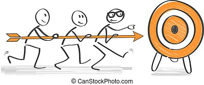 Achieving goal concept - Businesspeople holding arrow