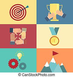 achieving goal, success concept vector illustration in flat ...