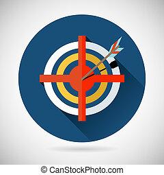 Achieving Goal Symbol Arrow Hit the Target Icon on Stylish Background Modern Flat Design Vector Illustration