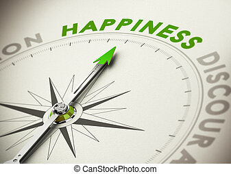 Achieving Happiness Concept - Compass needle pointing the...