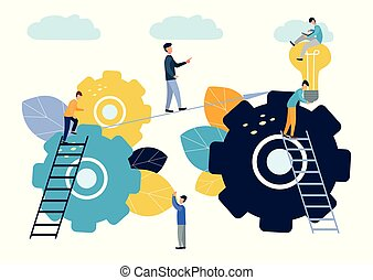 Achieving the goal, the business team overcomes obstacles and succeeds, the search for new ideas solutions