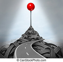 Achieving your goals and following the difficult challenging path to success with a mountain of tangled roads and highways leading to the top with a location red pushpin as a symbol of determination.